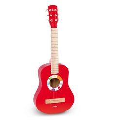 Wholesale Guitar Wood Types - Baby Toys Janod wooden Kids Guitar High Quality Red Baby Iron Strings Wooden Guitar toy Musical Instrument Toy Educational Gift