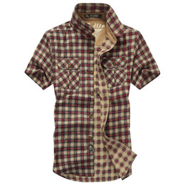 loose chemise Promo Codes - Wholesale-Cotton Plaid Shirt Men Brand Clothing Short Sleeve Summer Shirt Chemise Homme Casual Loose Style Sport Gym Clothing S5567