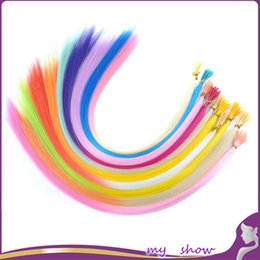 """Wholesale feather loop - Wholesale-16"""" 100Pcs Lot Ombre I Tip Hair Extensions 2 Tones Snythetic Loop Feather Hair Extension Party Highlight Punk Cosplay"""