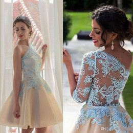 Wholesale Short One Shoulder Puffy Dress - Sexy Illusion One SHoudler Champagne Short Homecoming Dresses Puffy Princess Appliques Lace Cocktail Dresses Summer Prom Dresses