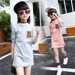 Wholesale Tee Tutu Dress - 2016 New Autumn Fall Girl Skirts Long Sleeve T-shirt Tee Kids Children Skirt Girls Dress Clothes Skorts Bear Style 2 colors