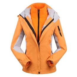 Wholesale Female Ski Suit - Wholesale-women's Skiing Jackets+Fleece jacket lady outdoor sports coat women ski suit warm waterproof 2 in 1 female ski wear coat