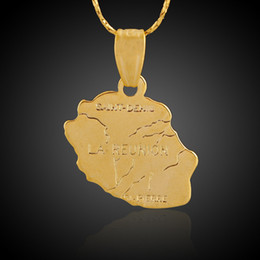 Wholesale Hanging Jewellery - l'Ile de la Reunion Map Copper Brass Pendant 18K Gold Plated Statement Charms Making Necklace Hanging Jewellery Special Promotion Gift