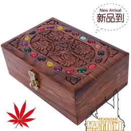 Caixa de jóias de madeira esculpida on-line-Paquistão mão esculpida embutidos ágata de madeira de nogueira antiga caixa de jóias de madeira maciça caixa de jóias antigas caixa de jóias
