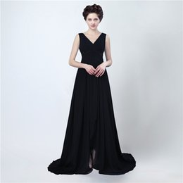 Wholesale Mae Noiva - Free Shipping Long Evening Gowns Vestido Mae Da Noiva Sexy Split Black Chiffon Prom Dress Women Evening Dresses