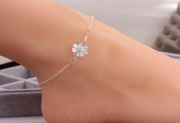 Wholesale Womens Anklets Charms - Sterling silver 925 women anklets womens jewelr flower ankle bracelets charms for bracelets