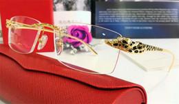 Wholesale Glasses Brand Frame Optical - luxury brand glasses Prescription T8200876 rimless gold frame leopard animal legs optical for men design clear glass Business casual style