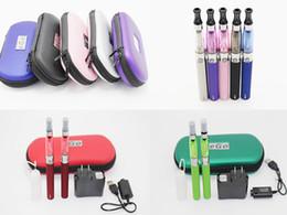 Wholesale Ego T Zipper Set - Double eGo CE4 Starter Kit 650 900 1100mAh eGo t battery 1.6ml CE4 Clearomizer E Cig Set Zipper Case Kit 9 Colors