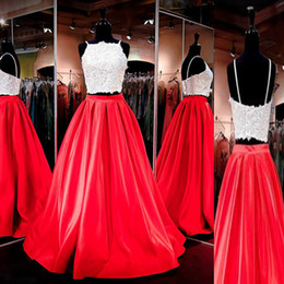 Wholesale Beaded Silk Skirt - 2016 Fashion Cheap High Quality Prom Dress Long Two Pieces Formal Dresses Evening Wear Beaded Lace Top Red Skirt A Line Spaghetti Straps