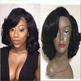 Wholesale Yaki Wigs Bangs - Glueless Full Lace Wigs With Bangs Loose Wave Lace Frontal Wigs Bbay Hair Unprocessed 8A Brazilian Human Hair Wig For Black Women