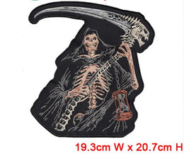 Wholesale Large Motorcycle Patches - Free Shipping, large Skull Embroidered Iron On Sew On Patch Motorcycle Biker Gothic Punk Applique 19.3 cm x 20.7 cm