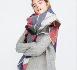 Wholesale Red Plaid Wool Blanket - Za Winter luxury Brand Plaid Cashmere Scarf Women Oversized Blanket Scarf Wrap long Wool Scarf Women Pashmina Shawls and Scarves HJIA770