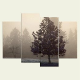 Wholesale Textured Tree Paintings - (No frame)The trees two series HD Canvas print 4 pcs Wall Art Oil Painting Textured Abstract Pictures Decor Living Room Decoration