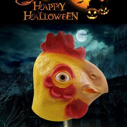 Wholesale Latex Chicken Mask - Animal Chicken Mask Halloween Party Prop Carnival Latex Rubber Chicken Head Mask Party Full Face Rooster Mask