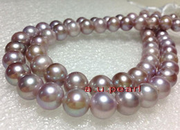 """Wholesale Pink Pearl Necklace 14k - Fine Pearl Jewelry AAAAA 35""""10-11mm long NATURAL south sea PINK purples lavender pearl necklace 14K"""