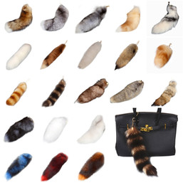 Wholesale Antique Fox Pendant - Real Rabbit Fox Soft Fur Tail 15~25cm Key Chains 25 Styles Hanging Pendant Earrings for Women Bag Car
