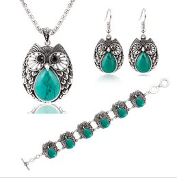 Wholesale Lucite Plastic Jewelry Pieces - European and American fashion trend of metal owl turquoise bracelet jewelry earrings necklace three-piece fitted suit female