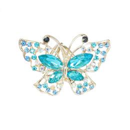 2019 porte-bijoux papillon Nouveau modèle cristal papillon strass foulard porte-boucle pour Lady Silk écharpe anneaux bijoux broche mariage broche cadeau porte-bijoux papillon pas cher
