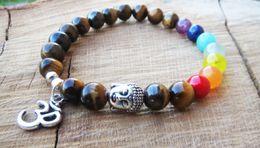 Wholesale Body Bracelets - SN1095 7 Chakras Bracelet Balancing Natural Stone Buddha Bracelet Om Charm Bracelet Ckakras Body Balance Meditating Jewelry