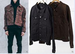 Wholesale Mens Black Denim Jean Jacket - fall veste homme moto kpop kanye west jackets mens european clothing asian clothes men coat black brown denim jean jacket
