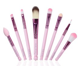 Wholesale goat hair dhl - 2a In Stock Hello kitty 8pcs Make Up Cosmetic Brush Kit Makeup Brushes Pink beauty appliances DHL Free