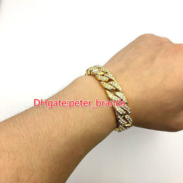 Wholesale Yellow Gold Bangles - Free shipping New Solid Gold Plated CUBAN LINK Shiny Diamond Bracelet Hip Hop Bling Jewelry Hipster Men Wristband Bangle