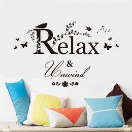 Wholesale Relax Decal - Relax Words Wall Sticker Wall Decal Home Decor Removable Vinyl Quote Wall Decal Sticker Mural free shipping