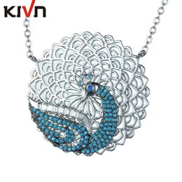 Wholesale Peacock Plates - KIVN Fashion Jewelry Animal Peacock CZ Cubic Zirconia Womens Girls Bridal Wedding Pendant Necklaces Christmas Birthday Gifts