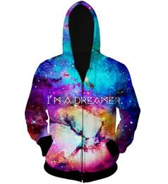 Wholesale Galaxy S I - Wholesale-Free shipping men women's jacket casual zipper galaxy coat 3d printed I AM A DREAMER coat men outdoor jackets coats hombre