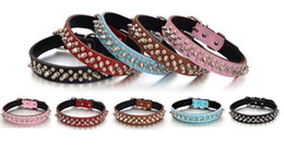 Wholesale Dog Spiked Real Leather - 1 inch spiked studded dog collars real Leather dog collar 5 colors pet collar multi colors free shipping