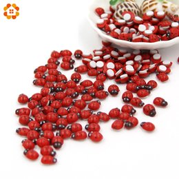 Wholesale Wood Magnets - Mini 100PCS Lot Red Wooden Ladybug Sponge Self-adhesive Stickers Cute Baby Fridge Magnets For Scrapbooking Home Decoration