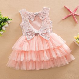Wholesale Pink Butterfly Cake - 4 colors 2017 Summer Baby Girls Butterfly Sequin Princess cake Tutu Dresses Children Sleeveless Tulle Party Gown Formal Dress aby clothes