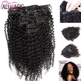 Wholesale European Clip Curly Hair - clip extensions african american clip in human hair extensions kinky curly clip in hair extensions 120g 7A natural hair Factory Outlet