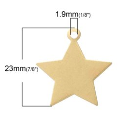 Wholesale Blank Gift Tags - Copper Blank Stamping Tags Pendants Stars Light Golden 23.0mm x 22.0mm,100 PCs 2015 new light loupe