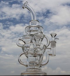 Wholesale Big Designs - FTK style big size bong new design hollow out glass recycler glass bong D&K brand water pipe with tyre perc amazing vortex