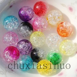 Wholesale White Crackle Beads - 10MM Sparking Crackle Acrylic Smooth Round Beads double colors 500PCS