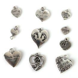 Wholesale Tibetan Pendants Wholesale Free Shipping - Free shipping New 117pcs Mixed Tibetan Silver Plated Heart Love Charm Pendant Statement Jewelry Making DIY Handmade Jewellery Mix Lots DIY