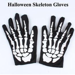 Wholesale Kids Skeleton Costumes - Halloween Skeleton Gloves Cosplay Funny Gloves for Halloween Party Costume Novelty Toy for Adults Kids With opp bag DHL