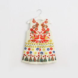 Wholesale Kids Tassels Clothes - 2017 Kids Girls Print Floral Tassel Dresses Baby Girl Fashion Cotton Dress Girl Spring Sleeveless Dress children's clothing