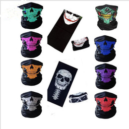 Wholesale ghost skeleton - Halloween Skull Face Masks Skeleton Magic Skull Scarves Outdoor Sport Cap Neck Snood Ghost Headband Cycling Motorcycle Cosplay mask KKA3159
