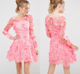 Wholesale Scalloped Flowers - 3D Floral Lace Applique Overlay Short Prom Dresses Pink Long Sleeve Illusion Boat neckline Scalloped hem A-line Mini Party Dress