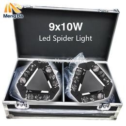 Wholesale flight case dj - Wholesale- Flight Case With 2Pcs Lot 9x10W Led Spider Light RGBW 13 45CH DMX Stage Lights Dj Led Spider Moving Head Beam Light Lamp
