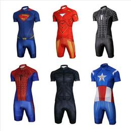 Wholesale Iron Man Clothes - Customize Cool Superhero Cycling Wear Iron Man Batman Superman Captain America Spider-Man Cycling Jersey short bike clothing set