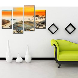 Wholesale Contemporary Art Prints - 4 Picture Combination Modern Canvas Prints Artwork Contemporary Seascape Paintings on Canvas Wall Art for Home Decorations