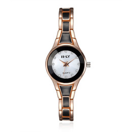 Wholesale Gold Bracelet Color Glass - Top Brand Luxury Women Quartz-watch Stainless Steel Ladies Analog Bracelet Watch Women Montre Femme Wrist Watches Hot Sale 4 Color to Choice