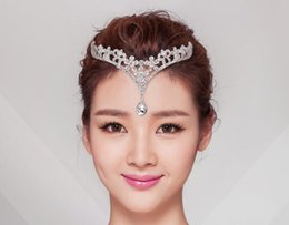 Wholesale Wedding Forehead Jewelry - 1 Piece Silver Crystals Rhinestones Flower Head Chain Jewelry Forehead Headpiece Bride