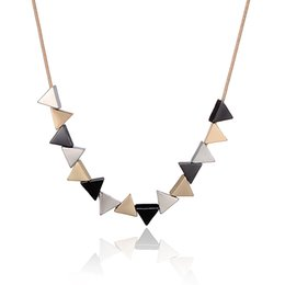 Wholesale Triangle Circle Pendant - Geometric Triangle Shaped Neckalces Personallity Alloy Pendant Necklaces Statement neckalces for women