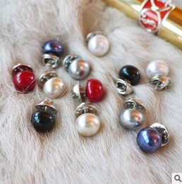 Wholesale Rhinestone Horse Brooch - NEW Pearl horse nail collar button Anti-walking brooch seven colors can choose