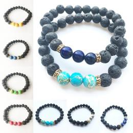 2019 braccialetti nuovi prodotti Nuovi prodotti Commercio all'ingrosso Lava Stone Beads Natural Stone Bracciale Uomo gioielli Stretch Yoga Olio Diffusore Bracciale 11 stili B920S