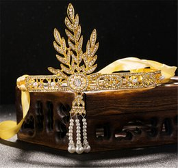 Wholesale Precious Bridal - Vintage Wedding Headband Ribbon Bridal Rhinestone Crown Tiara Princess Hair Accessories Gold Crystal Pearl Headdress The Great Gatsby Tiara